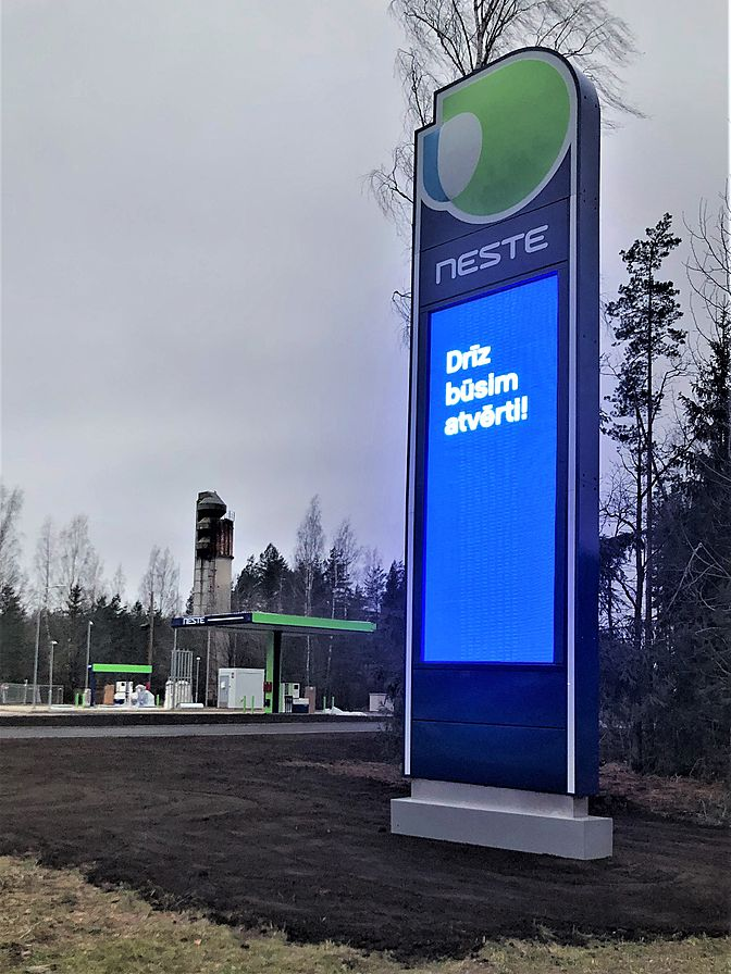 Neste double sided pylon sign, Latvia